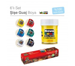 NOVACOLOR GUAJ BOYA ŞİŞE SET 6 RENK 25ML